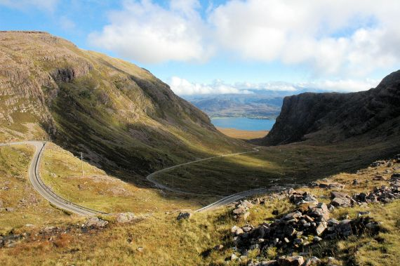 The road from Kishorn to Applecross climbs up the famous Bealach na Ba, the Pass of the Cattle.
