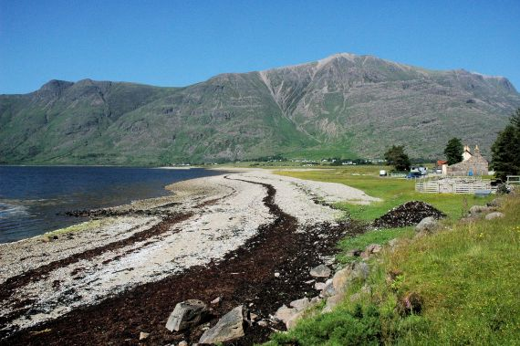 This photo shows a view of the mountain called Liathach as seen from the foreshore at Annat near Torridon.