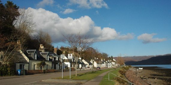 A view of the Main Street in Lochcarron. This is the first place we reach on the West Coast during our tour of Wild West Coast Scotland.