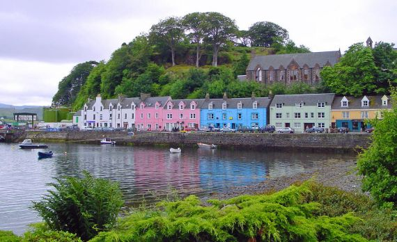 "Portree is the main town on Skye. The name is an Anglicised version of the Gaelic ""Port-an-Righ"" meaning ""King's Port"" and relates to a visit by King James V in 1540."