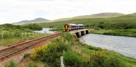 The Inverness to Kyle Railway passes through remote and spectacular Scottish Highland scenery.